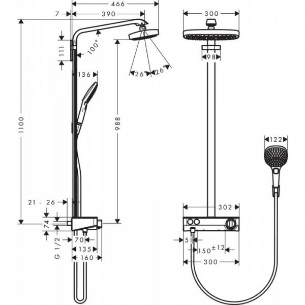 Душевая система с термостатом Hansgrohe Raindance Select E 300 27283400