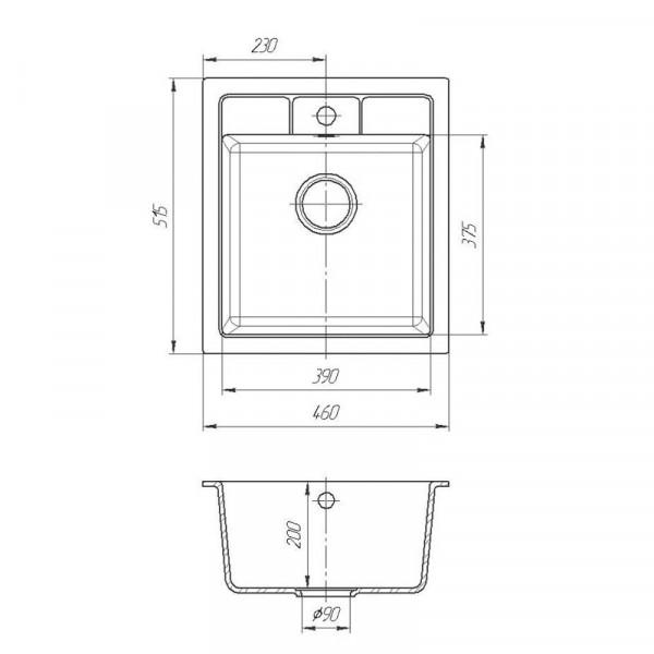 Кухонная мойка гранитная Galati Adiere Grafit (201) 8675
