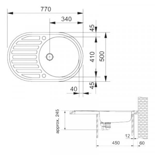 Кухонная мойка гранитная Galati Elegancia Grafit (201) 8687