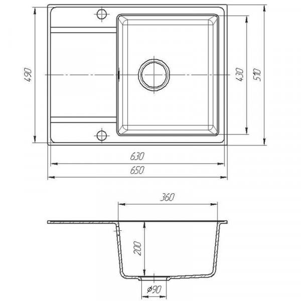 Кухонная мойка гранитная Galati Jorum 65 Biela (101) 10499