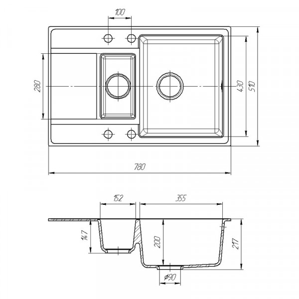 Кухонная мойка гранитная Galati Jorum 78D Biela (101) 3344
