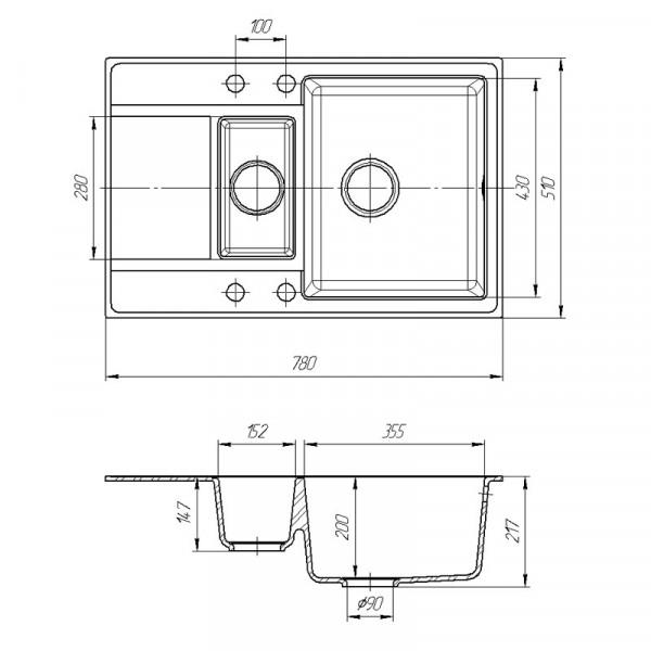 Кухонная мойка гранитная Galati Jorum 78D Grafit (201) 3342