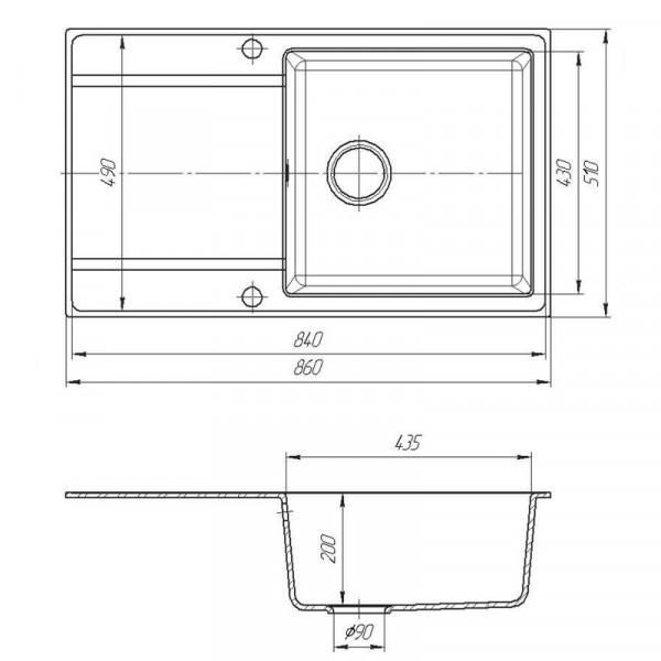 Кухонная мойка гранитная Galati Jorum 86 Grafit (201) 10505