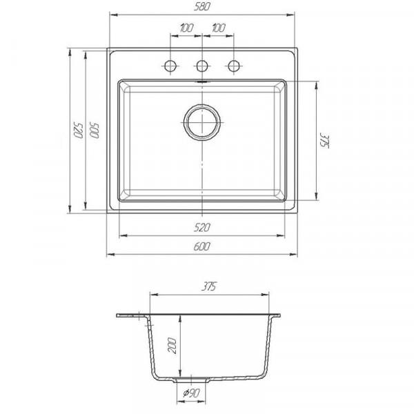 Кухонная мойка гранитная Galati Patrat Grafit (201) 10489