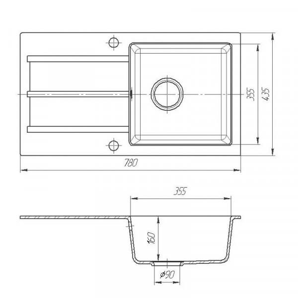 Кухонная мойка гранитная Galati Quadro Seda (601) 8682