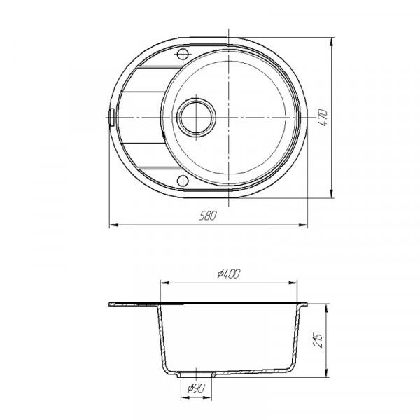 Кухонная мойка гранитная Galati Voce Grafit (201) 3217