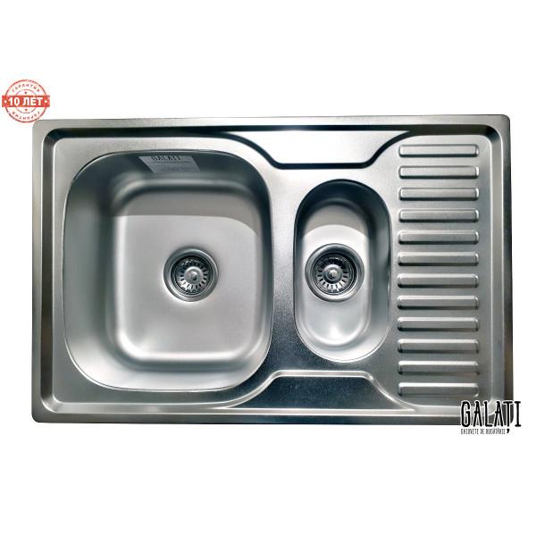 Кухонная мойка стальная Galati Petrika Satin нержавеющая сталь