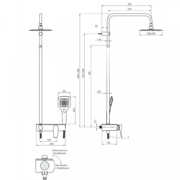 Душевая система с регулируемой высотой Deante LOBELIA NAC 01WM
