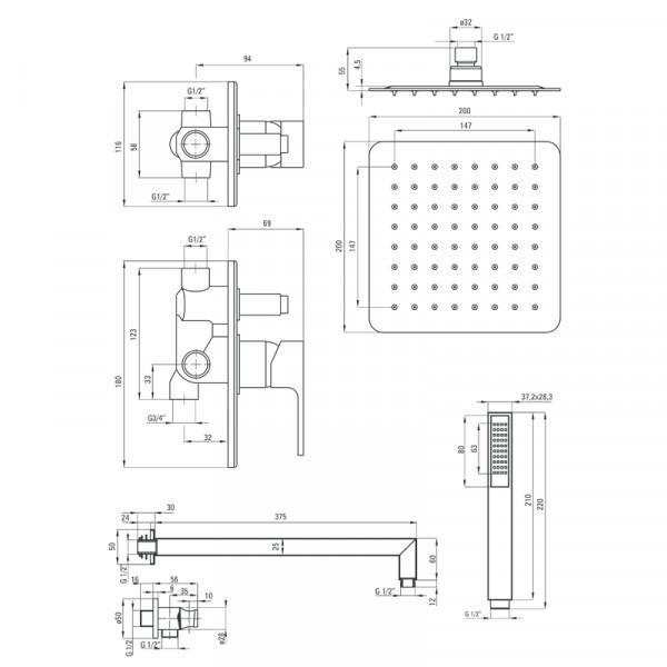 Душевая система скрытого монтажа Deante Anemon NAC 09AP