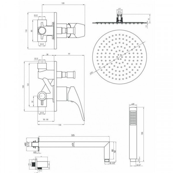 Душевая система скрытого монтажа Deante Cynia NAC 09BP