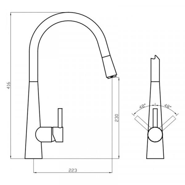 Смеситель для кухни с выдвижной лейкой Deante Aster BCA 072M