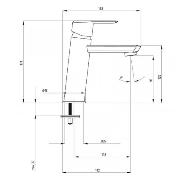 Смеситель для раковины с донным клапаном Deante ARNIKA BQA 021M