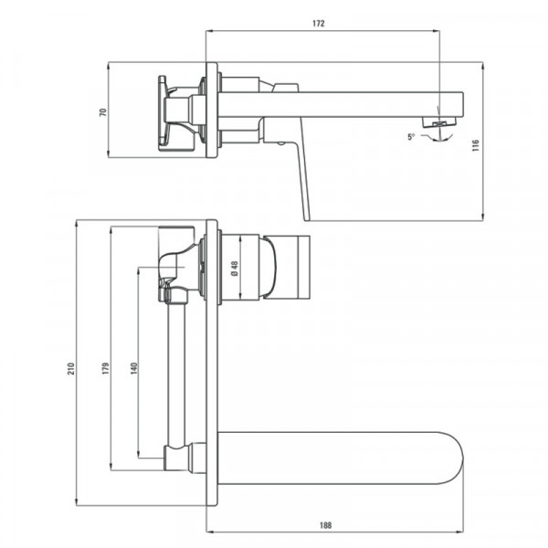 Смеситель для раковины скрытого монтажа Deante Alpinia BGA 054L