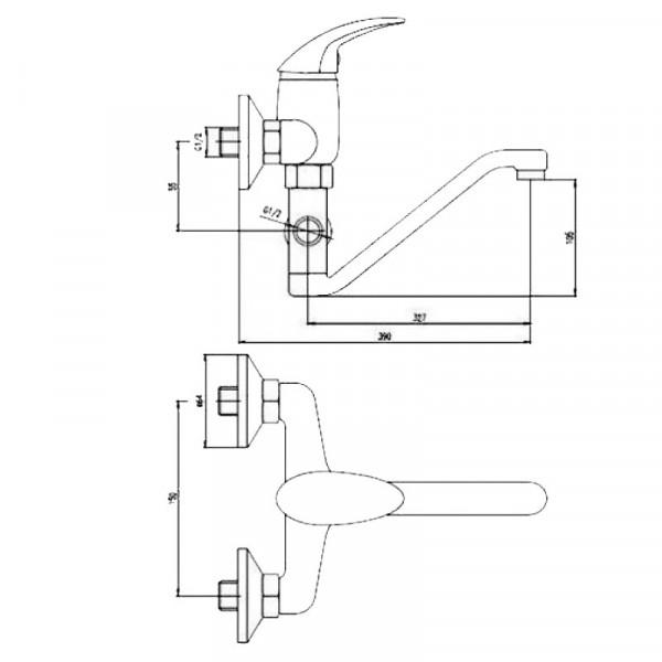 Смеситель для ванны с длинным изливом Deante Taga BFT 056M