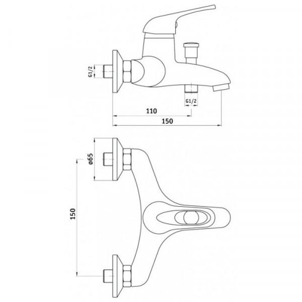 Смеситель для ванны с душевым гарнитуром Deante Funkia BEF 011M
