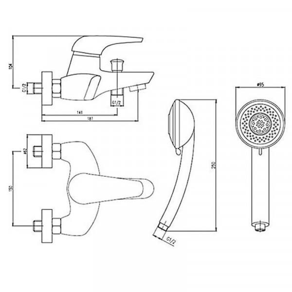 Смеситель для ванны с душевым гарнитуром Deante Jaguar BDX 011M