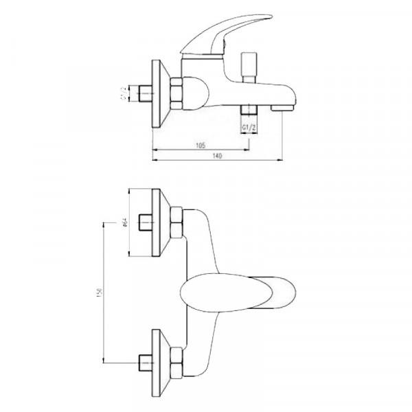 Смеситель для ванны с душевым гарнитуром Deante Taga BFT 011M