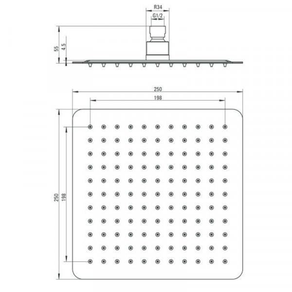 Верхняя дешевая лейка 25 см квадратная Deante FLOKS NAC 002K