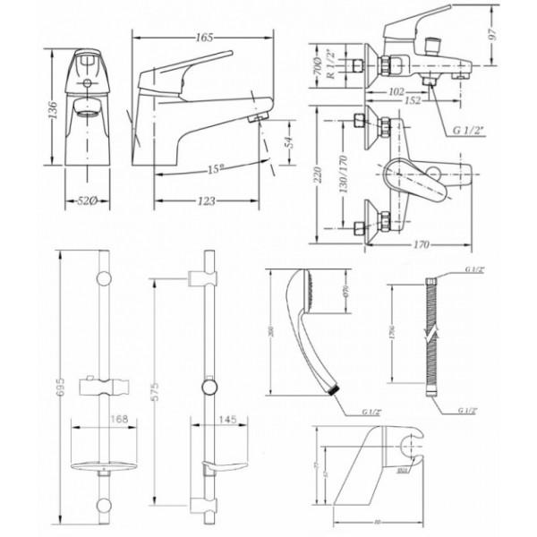 Набор смесителей для ванны со штангой 3 в 1 Genebre Ge2 04GE2V17RO