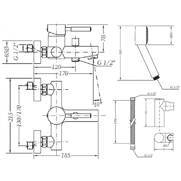 С душевым гарнитуром для ванны с душевым гарнитуром Genebre Tau 65100 18 45 66
