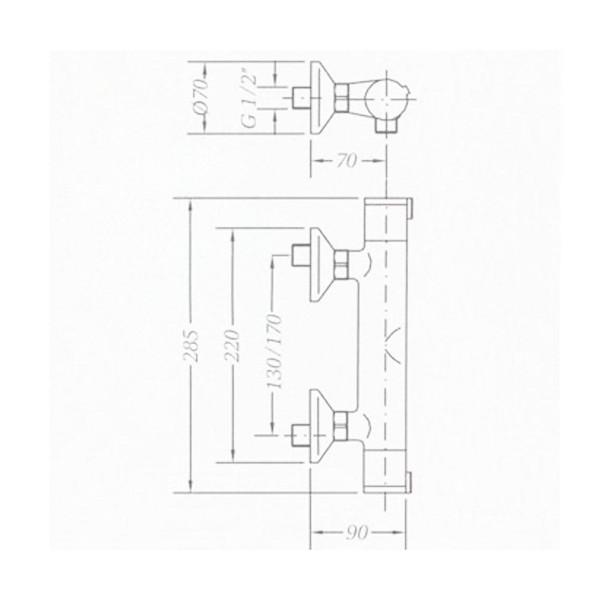 Смеситель для душа термостат Genebre Tau 67112 14 45 67
