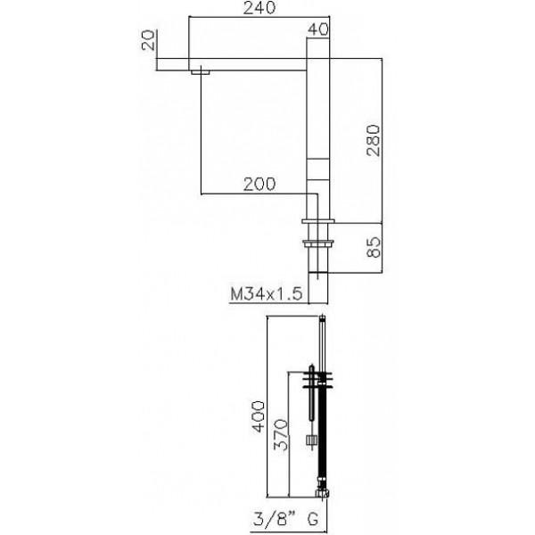 Смеситель для кухни квадратный Genebre INOX двухрежимный 65208 18 60 66