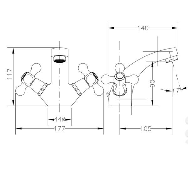 Смеситель для раковины двухвентильный Genebre New Regent 68505 09 45 66