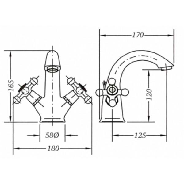 Смеситель для раковины двухвентильный Genebre NRC 68506 09 45 66