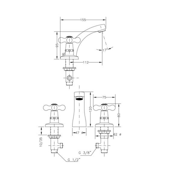 Смеситель для раковины двухвентильный на 3 отверстия Genebre New Regent 68510 09 45 66