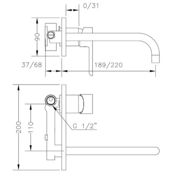 Смеситель для раковины Genebre Oslo-22 встраеваемый носик 22см 65132 19 45 66
