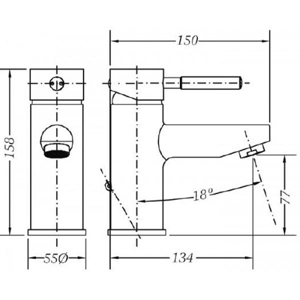 Смеситель для раковины Genebre Tau 65135 18 45 66