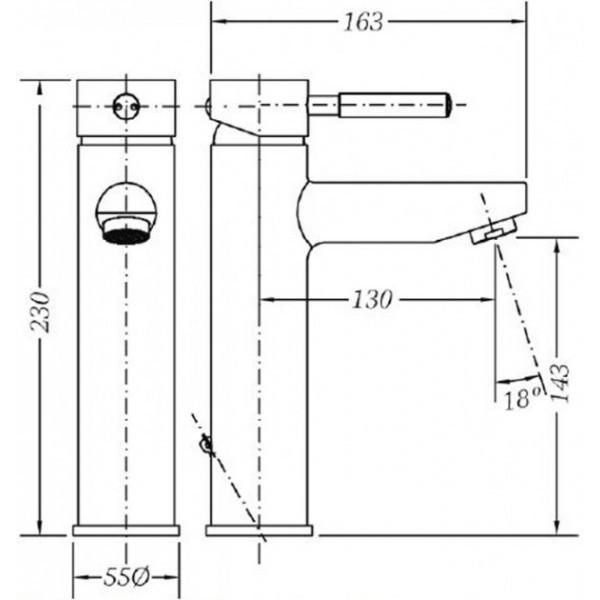 Смеситель для раковины Genebre Tau средний 65134 18 45 66