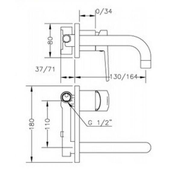 Смеситель для раковины скрытого монтажа Genebre Klip-16 встраеваемый носик 16 см 64131 16 45 66