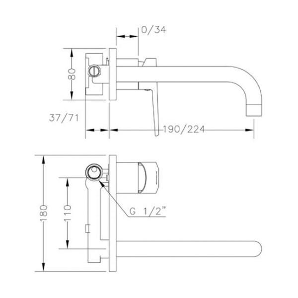 Смеситель для раковины скрытого монтажа Genebre Klip-22 встраеваемый носик 22см 64132 16 45 66