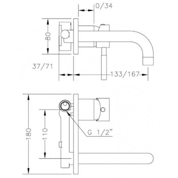 Смеситель для раковины скрытого монтажа Genebre Tau-16 встраеваемый носик 16см 65131 18 45 66