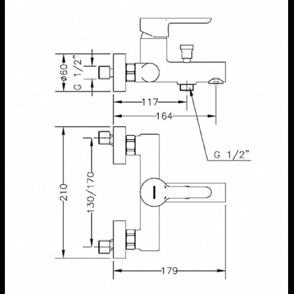 Смеситель для ванны Genebre Oslo Black, с душевым гарнитуром черный  65100 19 41 66