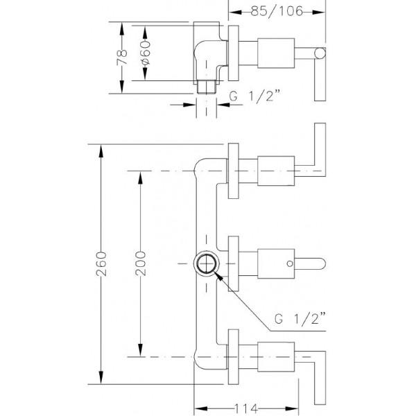 Смеситель для ванны и душа Genebre IXO с переключателем 68116 12 45 66