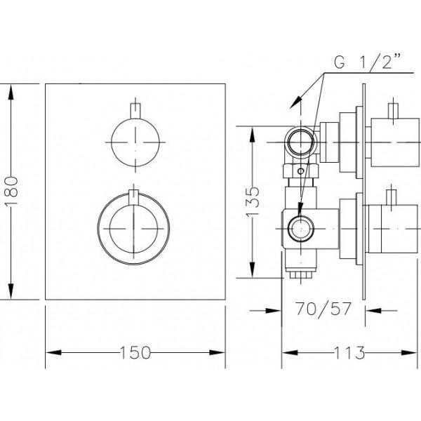 Смеситель скрытого монтажа для ванны с термостатом Genebre TAU 2way 64114 14 45 67