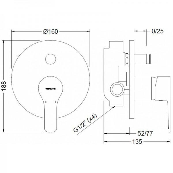 Смеситель скрытого монтажа с переключателем Genebre K8 61116 28 45 66