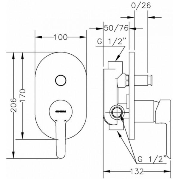 Смеситель скрытого монтажа ванна/душ с переключателем Genebre Oslo 65116 19 45 66