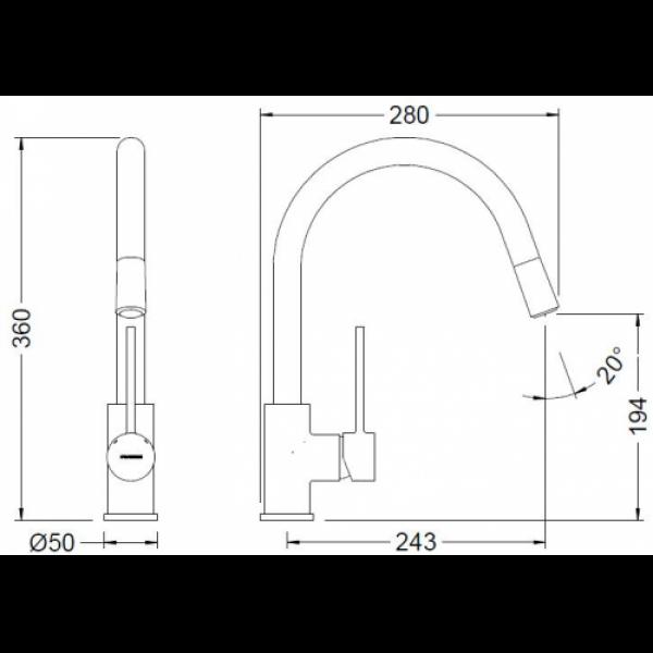 Смеситель для кухни с выдвижным изливом Genebre TAU FRV61206