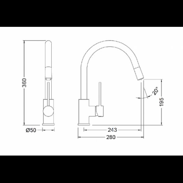 Смеситель для кухонной мойки с выдвижным изливом черный Tau Black FRV61207 41