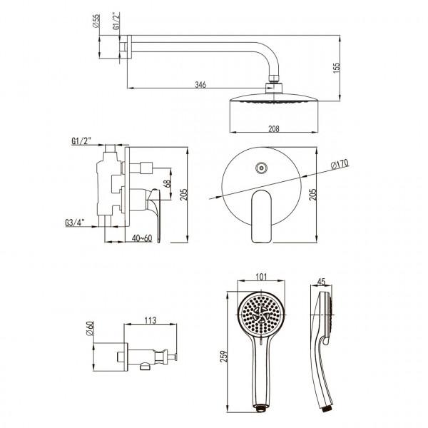 Душевая система Imprese BILINA VR-50225