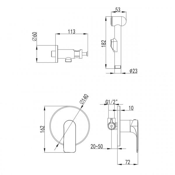 Смеситель скрытого монтажа с гигиеническим душем Imprese Bilina VR30225Z-BT