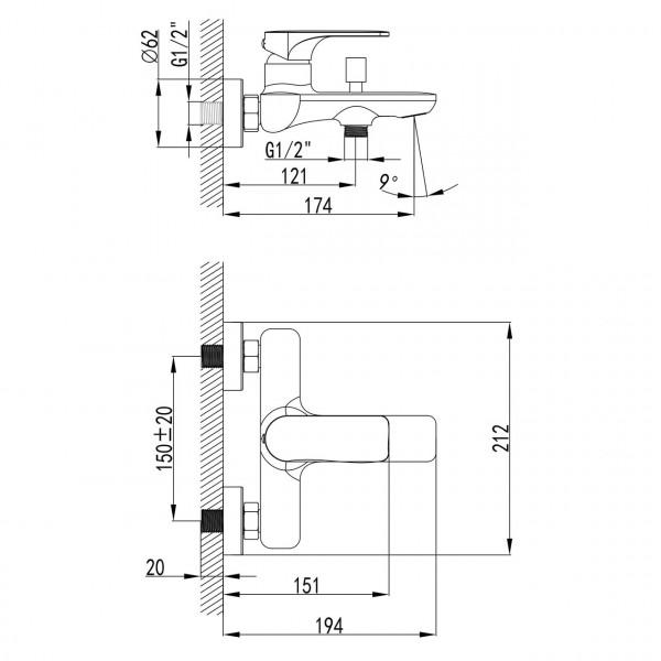 Смеситель для ванны Imprese Bilina 10225