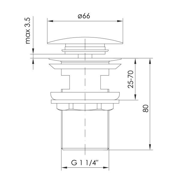 Донный Клапан Pop-up IMPRESE BRENTA ZMK091908500 граф.хром