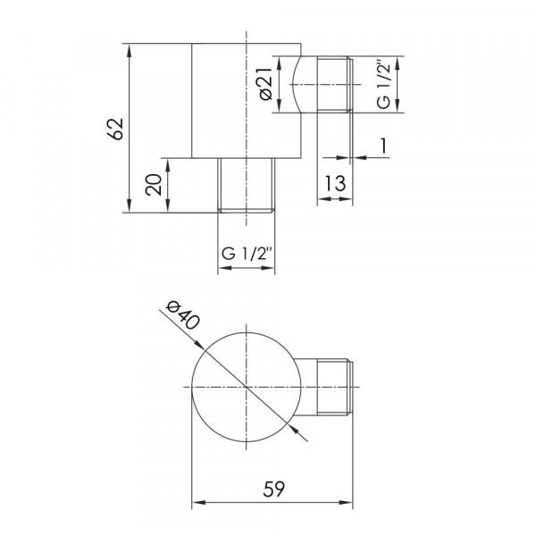 Шланговое подсоединение Imprese Brenta ZMK091908700 граф. хром