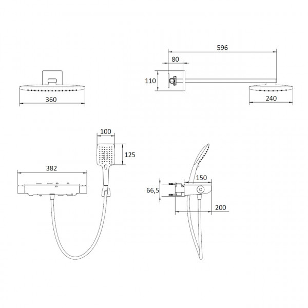 Душевая система с термостатом, хром-черный Imprese Centrum SQ VR-15610B