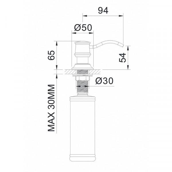 Дозатор для мыла врезной в столешницу Imprese Podzima Ledovo ZMK01170130