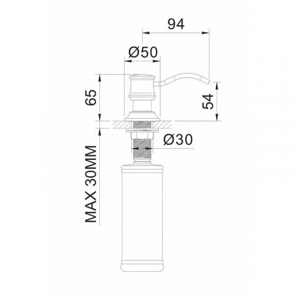 Дозатор для мыла врезной в столешницу Imprese Podzima Zrala ZMK02170830